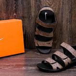Мужские кожаные шлепанцы сандалии Nike ACG Olive