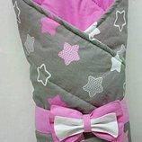 Конверт-Одеяло на выписку новорожденного, трансформер- Звездочки