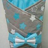 Конверт одеяло, конверт плед на выписку из роддома Гипоаллергенный