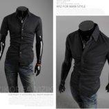 Мужская рубашка классическая черная код 59