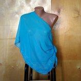 парео пляжная накидка платок бирюза с вышитым орнаментом по краю 160х46 см