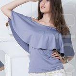 Воздушная летняя блузка с баской яркие цвета