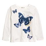 Реглан H&M белый Бабочки, размеры 4-10лет