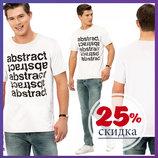 белая мужская футболка LC Waikiki / Лс Вайкики с надписью на груди Abstract