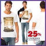 белая мужская футболка LC Waikiki / Лс Вайкики с рисунком и надписью Inbication на груди