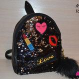 Детский рюкзак с пайетками Love , Турция