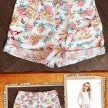 Котоновые шорты h&m красивенькие с утяжкой на девочку 134см