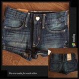 Джинсовые шорты h&m denim с утяжкой на маленькую модницу 98см