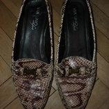 Мокасины на каблуке верх и подкладка кожаные