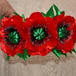 Обруч Маки красные, обруч цветы