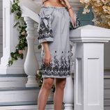 Изящное летнее платье в бело-черную полоску 42-48р