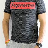 Футболка мужская Supreme черная с красным узоры