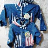 Куртка с капюшоном, FIRST WIN- XL Пог 41 см Длина 44 см джинсовая, котоновая, мальчик девочка