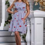 Эффектное Летнее платье в бело-синюю полоску 44-50р