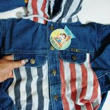 Куртка с капюшоном, FIRST WIN- XL Пог-43 новая джинсовая, котоновая, мальчик девочка капюшон вышивка