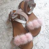 Натуральные сандалии босоножки с мехом Разные цвета