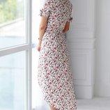 Платье ткань - штапель цвет - принты горох , мелкий цветок , крупный цветок