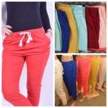 укороченные женские льняные брюки длина 7/8 с 44 по 52р 10 цветов