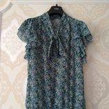 Размер 14 Нежная фирменная шифоновая блузка блуза