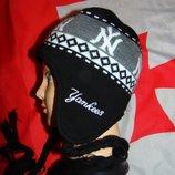 Стильная спортивная фирменная зимняя шапочка шапка бренд Yankees.54-56