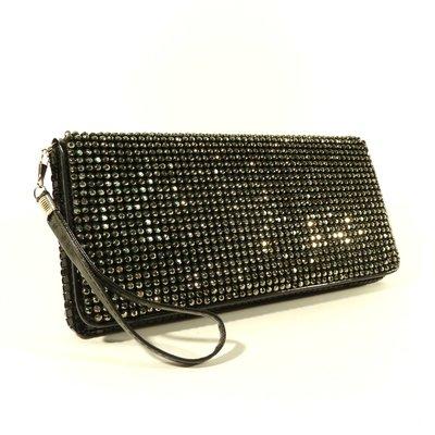 4eff0cc74999 Вечерний клатч, сумочка Rose Heart 3211 черный с белыми стразами ...