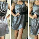 L-Xl Новое нарядное платье,серое,атлас,на запах
