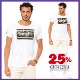 белая мужская футболка LC Waikiki / Лс Вайкики с рисунком и надписью на груди Complexity