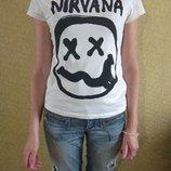 Белая футболка с надписью nirvana производство турция