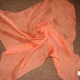 шейный платок шелк Италия 42Х42 принт Оранжевая клетка идеал Hermes Chanel косынка