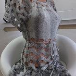 стильное вязаное платье S M