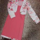 Костюм летний платье с пиджаком кораллового цвета 46 размера