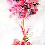 Розовый топиарий. Дерево счастья Малиновый пушистик