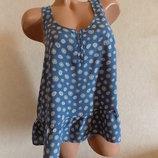 Майка разлетайка синяя в мелкий цветочек фирменная H&M размер 44-46