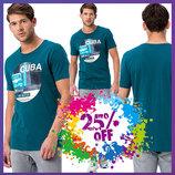 мужская футболка LC Waikiki / Лс Вайкики цвета морской волны с рисунком и надписью Cuba на груди