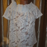 Шикарная блуза H&M р.8 белая блуза