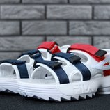 Мужские сандали босоножки Фила FILA Disruptor Sandals White/Red/Blue