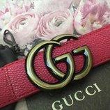 Женский красный кожаный ремень Gucci Гуччи