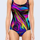 Потрясающий купальник Abstract swirl XXS-XL