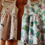 Лот- сарафан Платье попугаи,принт птички 80-98 см 2-3 года сарафан
