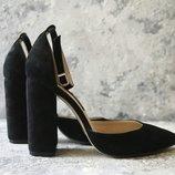 Туфли женские, замшевые черные туфли Sokolick