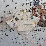 Красивая трикотажная панамка на завязках в цветочек для девочки 38-42 см