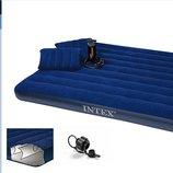 Кровать велюр 68765 3шт син., с подушками - 2 шт 43 28 9см , с руч.насосом - 68612, в кор. 152 2