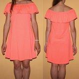 Платье с воланом со спущенными плечами xs-s