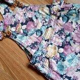 Яркий стильный джинсовый сарафан юбка комбинезон F&F на 9-12 мес