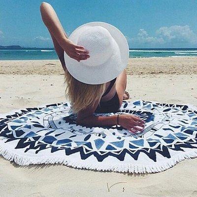 Пляжный коврик Мандала. Сине-Черная