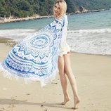 Пляжный коврик Мандала, голубой с бахромой