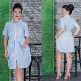 051 Летнее Платье - Рубашка В Полоску 16321