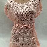 Платье пляжное Келли 1794 пудра-персик на наши 44-52 размеры.