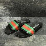 Gucci мужские шлепанцы черные, красные, зеленые 5445, 5446