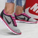 Кроссовки женские Nike Free ran 3.0 gray/pink